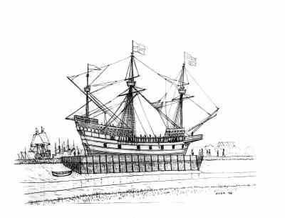 A drawing of the Golden Hind