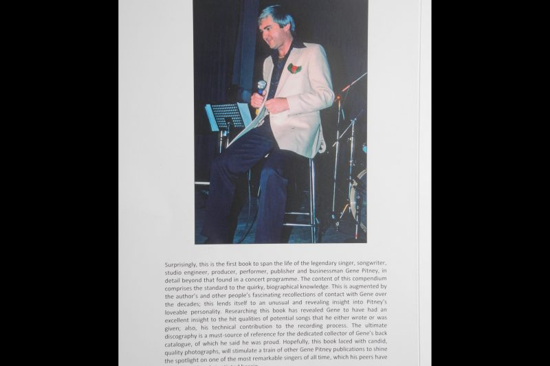 "The back cover of the book ""Charting the life of Gene Pitney"" by Michael Turner"