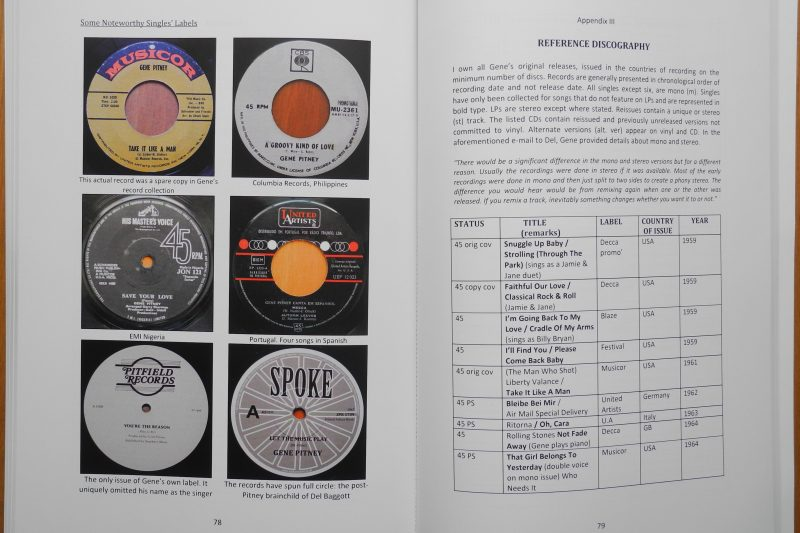 "Sample pages of the book ""Charting the life of Gene Pitney"" by Michael Turner"