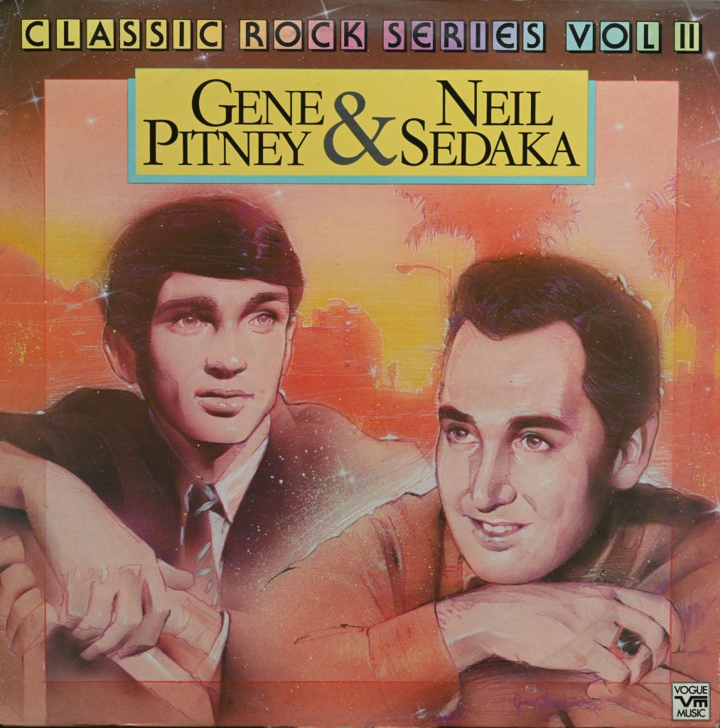 Album cover with painted portraits of Gene Pitney and Neil Sedaka in relaxed pose